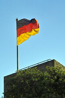 German flag flying on a castle